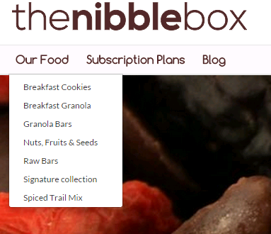 Variety of snacking options available at TheNibbleBox
